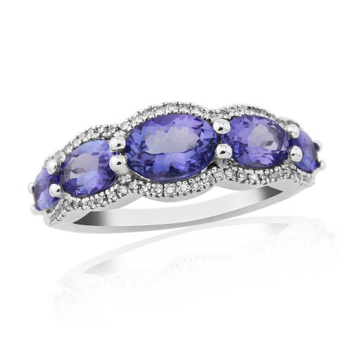 White Gold Tanzanite And Diamond Fancy Dress Or Eternity Ring